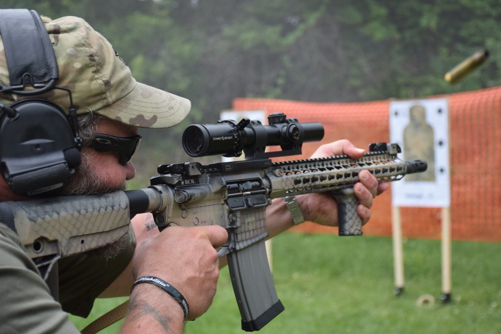 Straight, level and taking care of business, Paul Buffoni sends rounds downrange at EAG Tactical Carbine Operator Course.