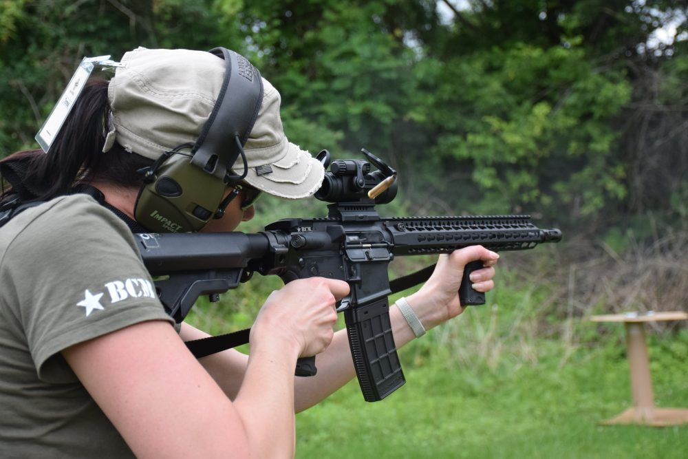 …studying the dark art of gunfighting at every opportunity: Teresa Sill.