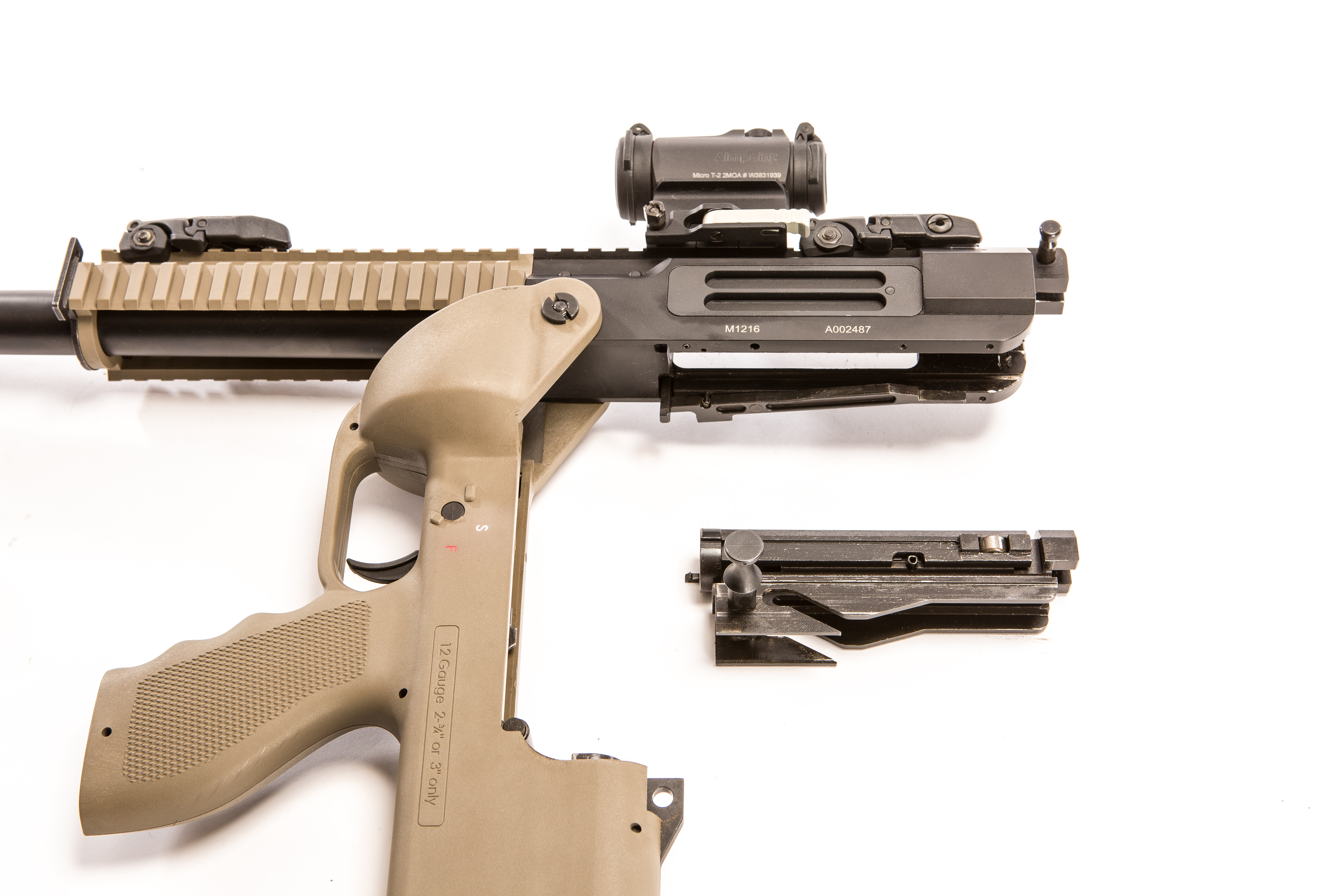 SRM 1216 hinged open for cleaning. Disassembly is similar to that of an AR-15-type rifle.