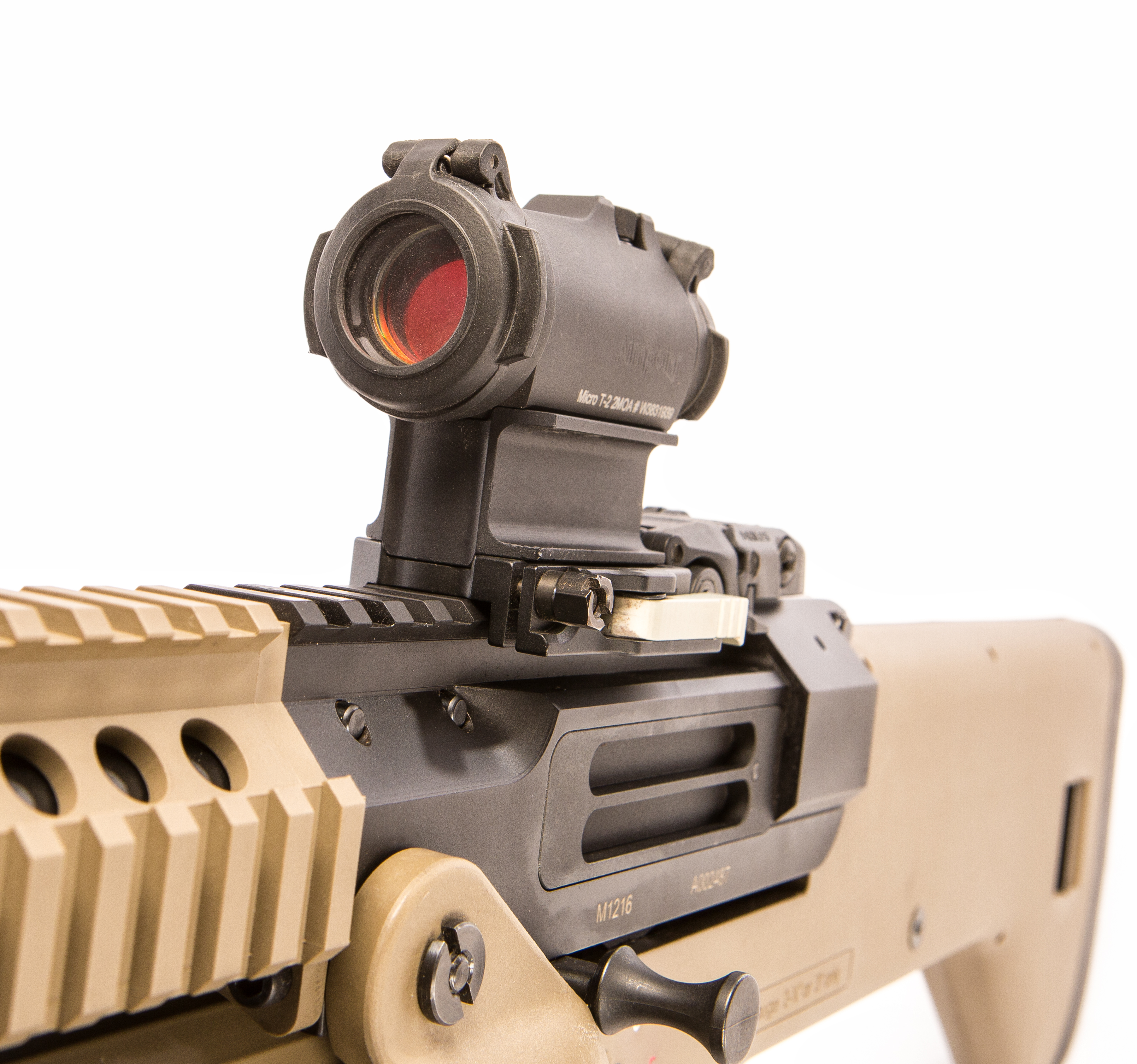 For evaluation, shotgun was equipped with Aimpoint Micro T-2 red dot sight.