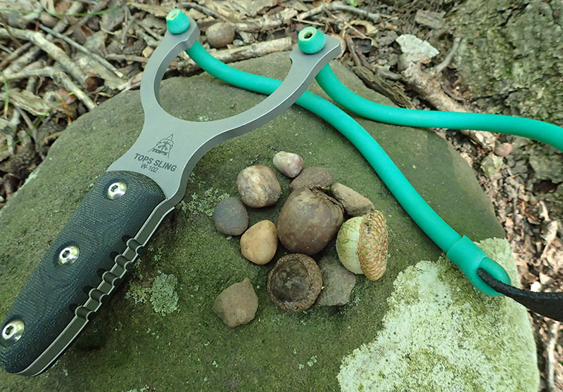 Abundant free ammo in the form of acorns and stones for TOPS Slingshot can be found on the forest floor.