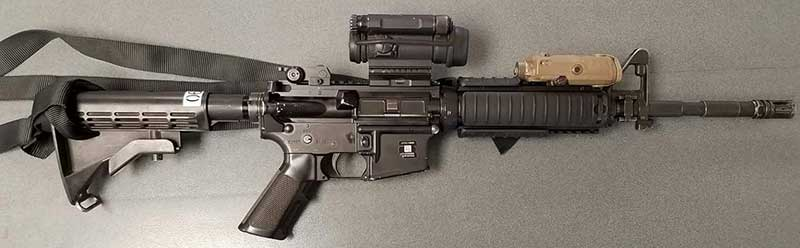 Current standard-issue M4 carbine. Only upgrades this will see are heavier barrel, conversion from three-round to full auto, and ambidextrous selector lever.