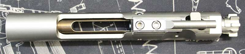 Ferfrans was first company to offer a redesigned bolt carrier that, due to a floating weight built into the carrier, significantly reduces full-auto cyclic rate.