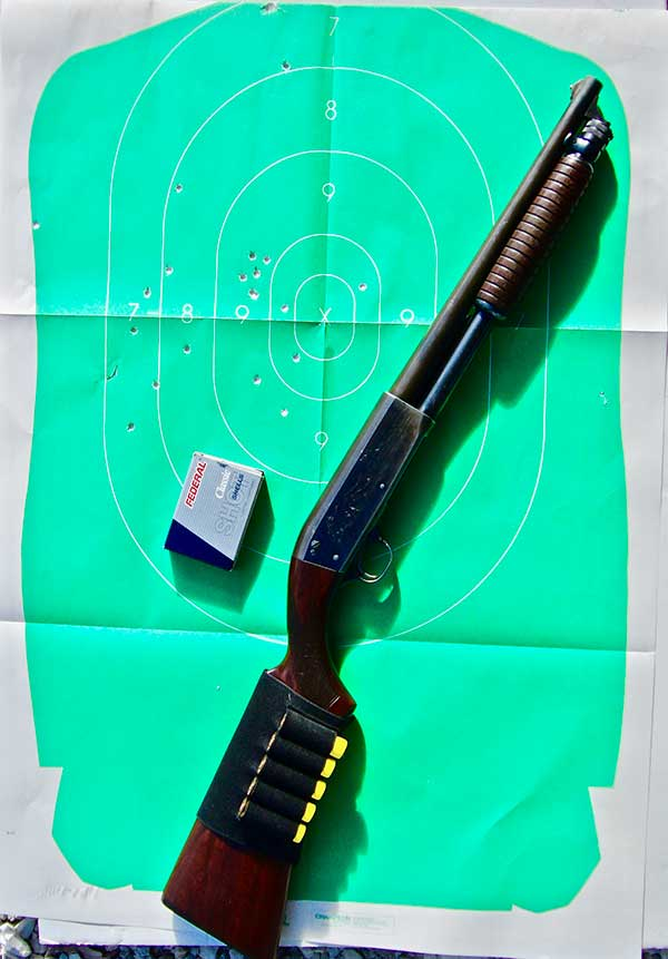 SBS 20-gauge Ithaca 37 fired this 8.5x11.5-inch pattern at 15 yards using Federal Classic 2¾-inch #3 Buckshot.