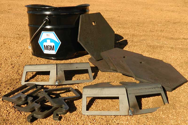 MGM Steel Challenge Plate Rack comes packed in a sturdy reusable steel bucket that contains six targets, six hooks, and two beam hangers.