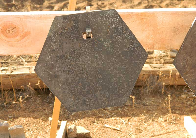 MGM HexPlate shaped target offers 13% more area than same size round plate.