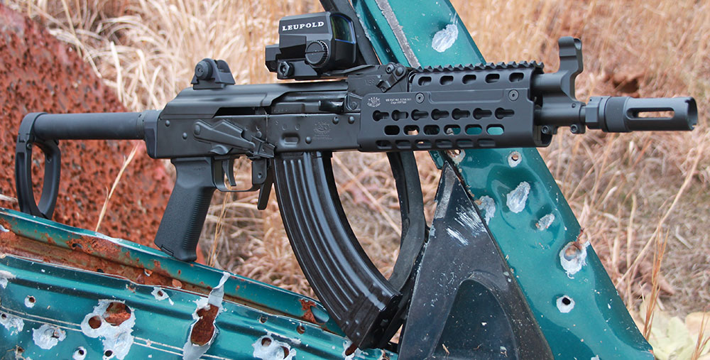 Krebs Custom's take on how to modernize AK platform focused on effective mounting of optics and providing rail interface for mission-specific accessories. PD-18 is a serious weapon, not a gimmick.
