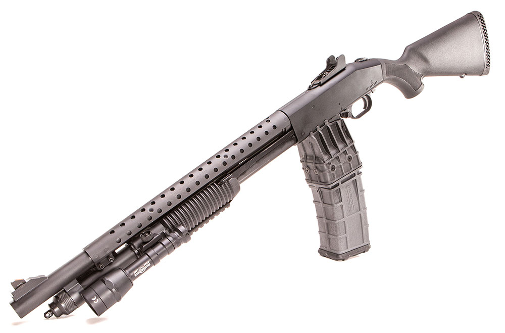 590M TR with 15-round magazine in place. It's actually shorter than a single-stack magazine that holds fewer rounds.