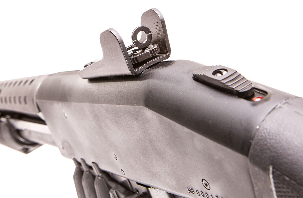 Rear sight is adjustable for windage and elevation. Ambidextrous safety on top is preferred by many shooters.