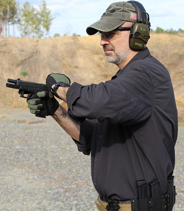 When using the power stroke method, shooters tend to bring the pistol in toward their chest, which is more distance the shooter has to move the pistol back out to present the gun.