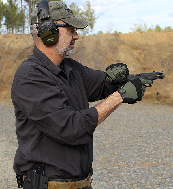 Utilizing the sling shot method is not only just as positive as power stroking, but the pistol also stays closer to full presentation and there is less support-hand movement to grasp the slide. It's a faster method for rechambering a round in the pistol.