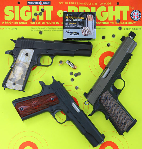 All three guns performed well on the range. Springfield Armory 1911 Mil-Spec was the most accurate, while Kimber Warrior SOC TFS turned in the highest velocity.