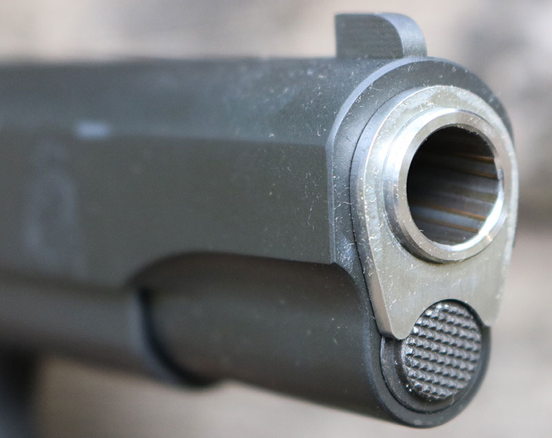 Springfield Armory 1911 Mil-Spec sports match-grade bar-rel and bushing for superb accuracy.