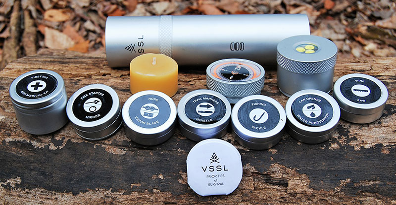 Small tins inside cylinder can be utilized independently from complete VSSL system. While tins may not be water resistant, they make it easier to carry readily available necessities.