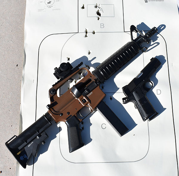 Stacey really liked weight and lack of recoil of both weapons. Proof is in the hits.