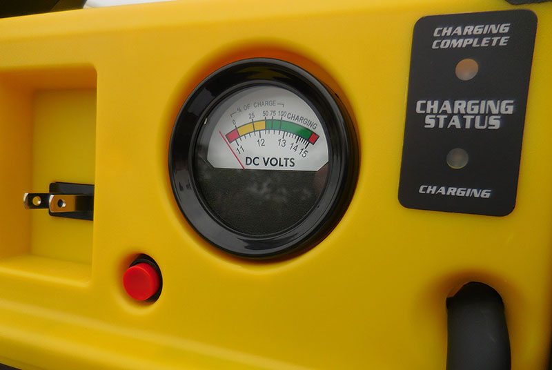 Easy-to-read built-in voltmeter lets you monitor charge status of onboard battery.
