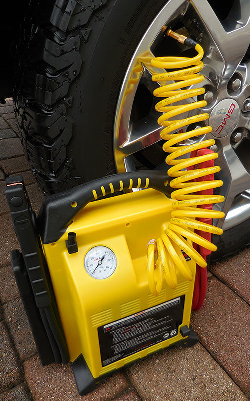 JNCAIR features integrated air-delivery system with 12-foot coiled air hose and screw-on chuck.