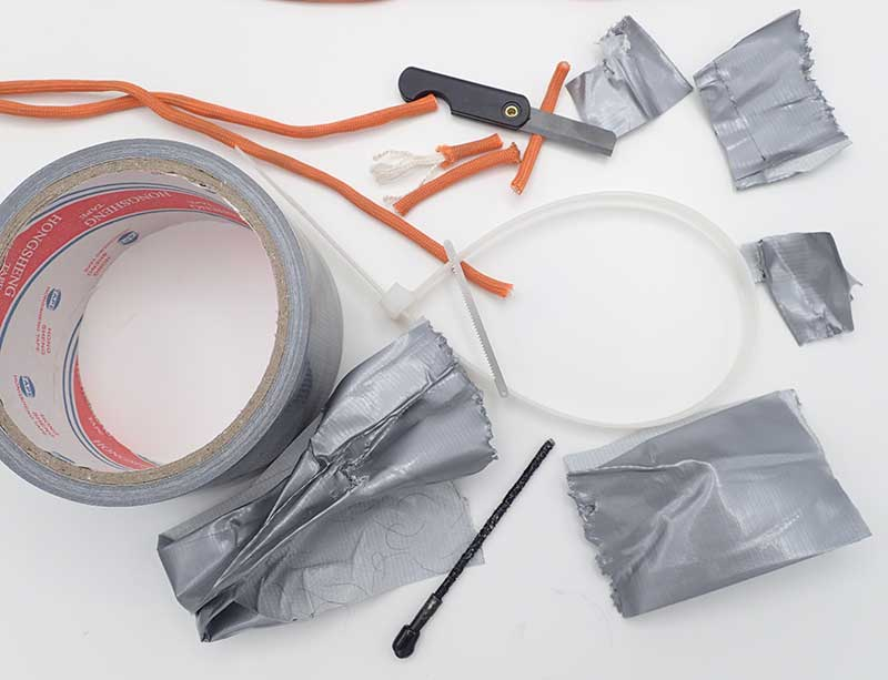 Author tried many tasks he had watched on the video for the Escape Stick, including releasing himself from zip-ties and duct tape. Ceramic Folding Razor Knife also cut through duct tape, 550 cord, and zip-ties.