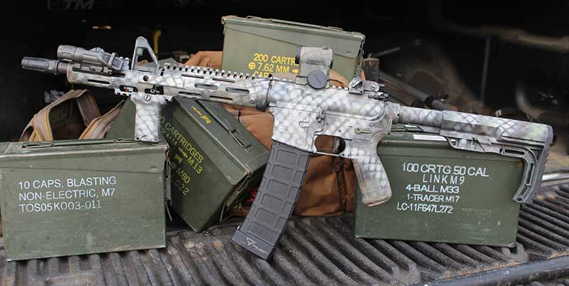 Fellow teammate also wanted a clone of his work gun. Although nowhere near SOPMOD, it is an exact clone.
