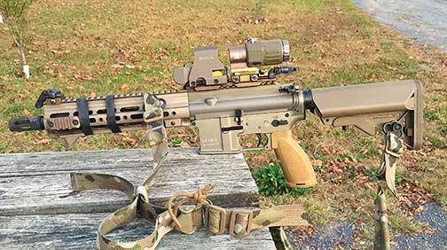 HK416 clone with URG-I (SOPMOD III) Geissele M-LOK rail.