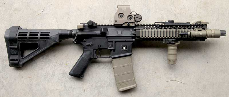Can't legally have or don't want a registered SBR? Using a brace and building a pistol is an acceptable method of building MK18 shorty clone.