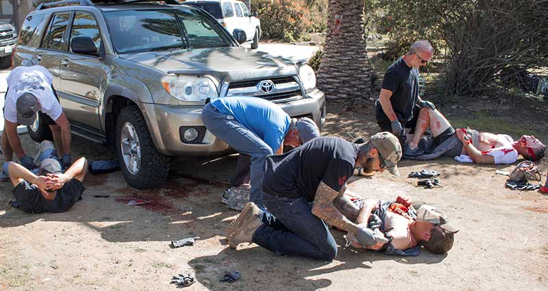 Students respond to high-intensity simulated motor-vehicle accident with three casualties, two of whom are in mortal danger.