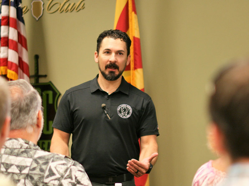 """Kerry """"Pocket Doc"""" Davis, co-founder of Dark Angel Medical, instructs at Direct Action Response Training class that author attended at Scottsdale Gun Club. Photo: Daniel Graham"""