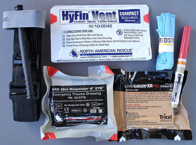 Ankle Trauma Kit comes standard with everything you need to treat the two major causes of preventable death from trauma. Chest decompression needle is available for those with advanced training.