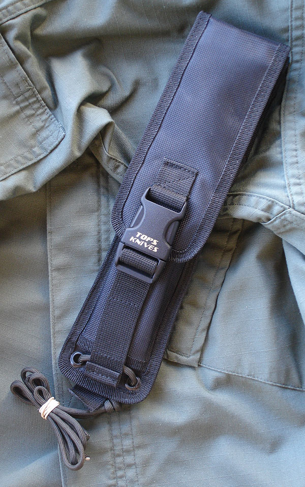 TOPS Mini Pry Knife comes with black Cordura ballistic nylon sheath that is belt and PALS/MOLLE compatible.