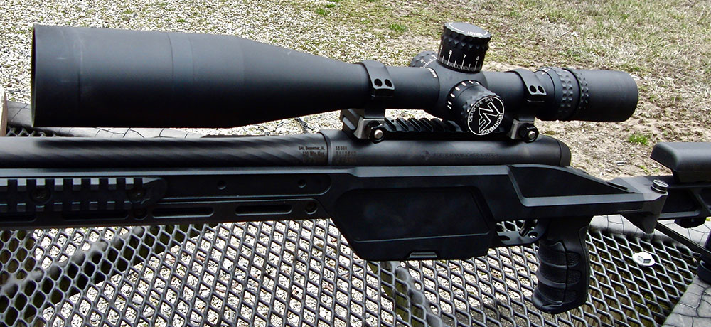 One advantage of Nightforce 3.5-15x50mm optic used with SSG 08 is it allows low mounting.