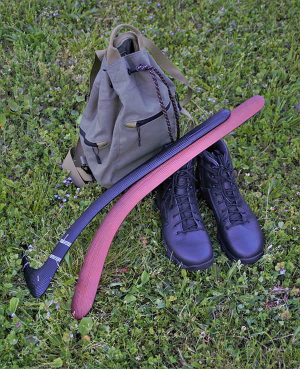 Two throwsticks author carries have varied purposes. Different shapes allow for a different type of flight and impact strength. One throwstick has traditional pattern.