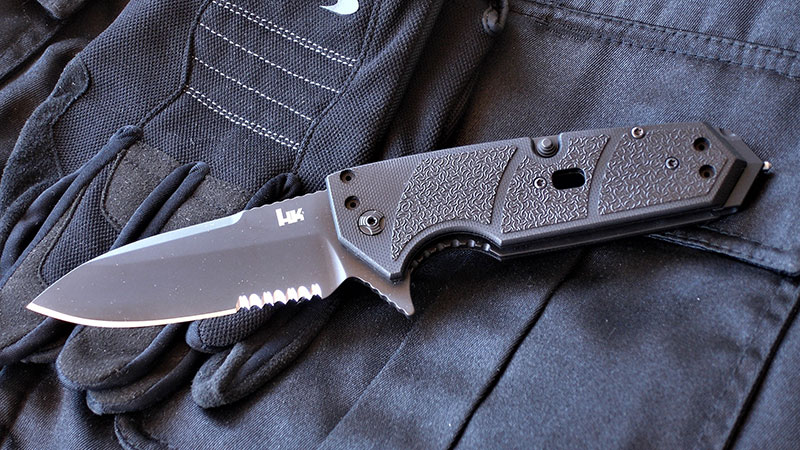 HK Karma is versatile new knife from Hogue Knives designed for duty. Author tested this version with spearpoint blade and black G10 handles.