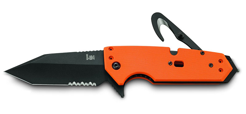 HK Karma is available with Tanto or spearpoint blade and safety orange or black G10 handle. Photo: Hogue