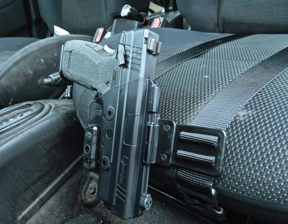 Alien Gear Driver Defense Holster mounted in author's car.