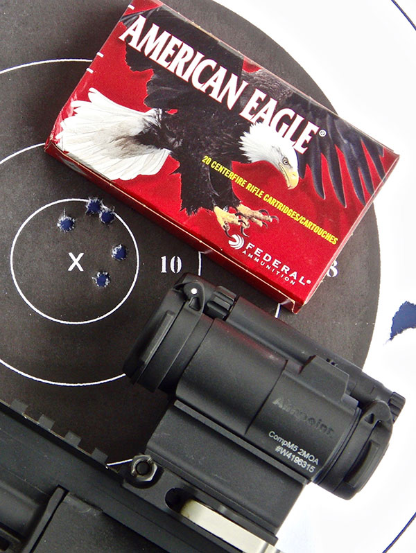 50-yard five-shot group, all in the black, using CompM5 on Steyr AUG M1.