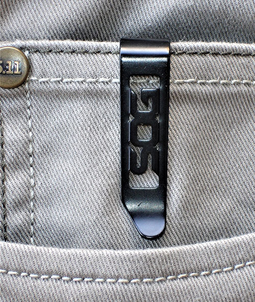 Strat Ops has a reversible low-carry pocket clip for tip-up carry. Knife disappears in a pocket. Only clip is visible.