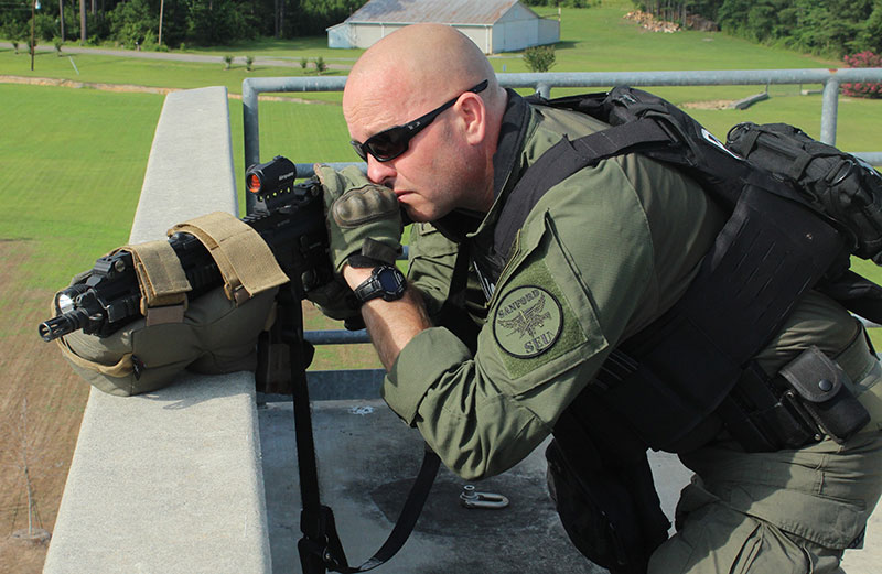 Using Game Changer not only lowers officer's silhouette, with bag attached to the rifle there is little chance of the rifle moving at all from recoil. Traversing left and right, rifle stays stable.