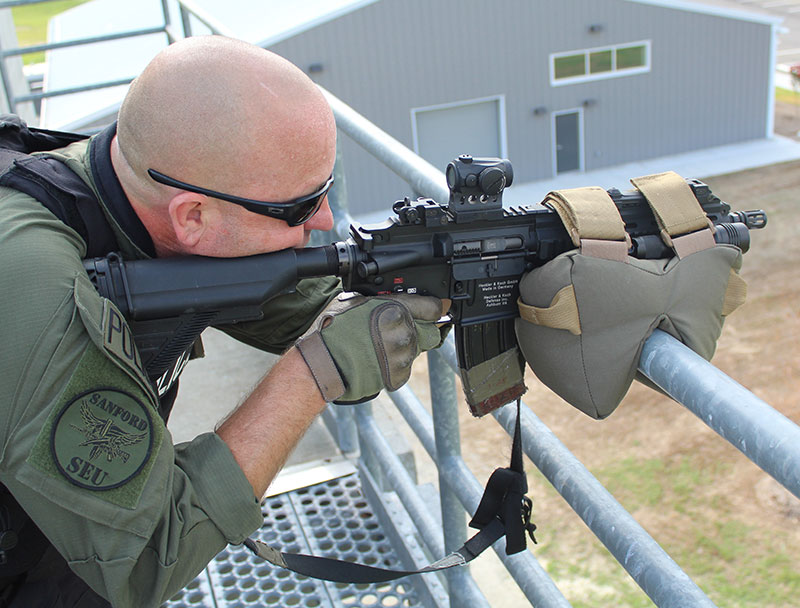 Need to provide overwatch? Regardless of the rifle, Game Changer can adapt to almost any situation. Even with a short-barreled rifle, there's plenty of room on this officer's carbine to attach Game Changer to.