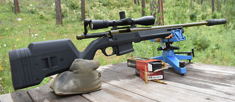 Author's old rifle updated with Magpul Hunter stock, magazines, and GT-308 suppressor.