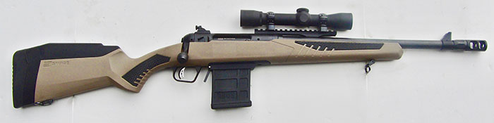 Right-side view of Savage 110 Scout with forward-mounted Weaver 4X28mm Scout Scope.