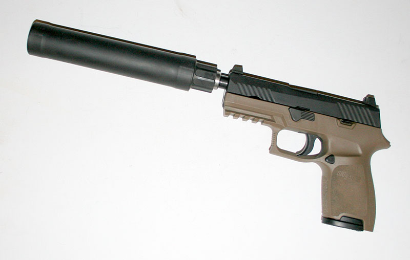 SRD9 9x19mm silencer adds 7.2 inches and 14 ounces to the pistol.