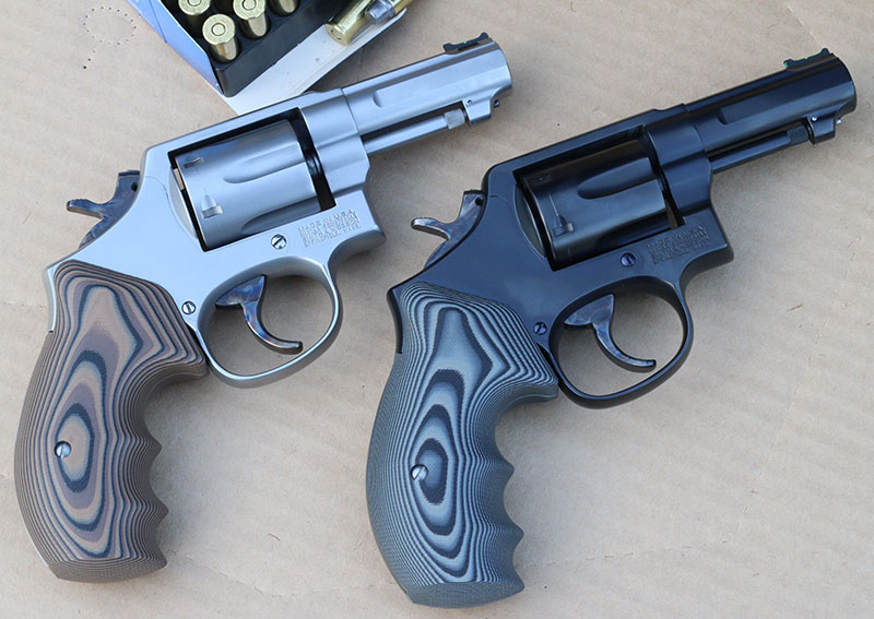 Project started with pair of worn-out police trade-in .38s, a four-inch Model 10 and 64 heavy barrel with cracked forcing cones—hard to believe from the end results.