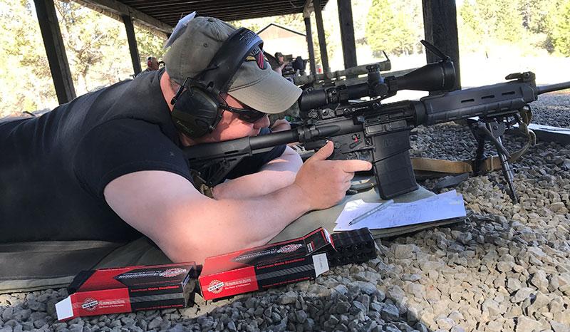 Kyoshi Eric Adams with S&W M&P .308, Leupold 4.5X14 TMR scope, and Black Hills Match ammo.
