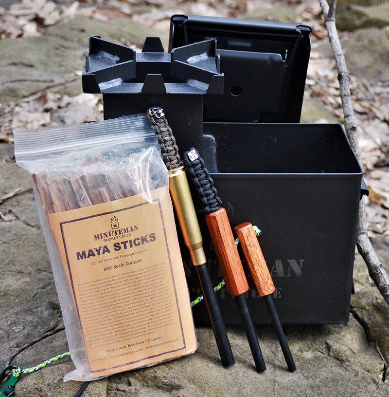 """Minuteman Stove comes packed in an """"ammo can"""" and can be supplied with additional items like top-quality Maya Sticks and proprietary ferro rods. All these accessories can be packed inside the stove for safekeeping."""
