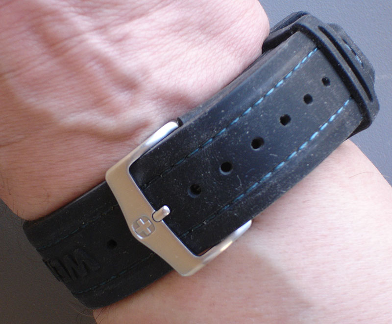 A-K Band on strap of Wenger Seaforce dive watch. Band is very low profile and comfortable when worn.