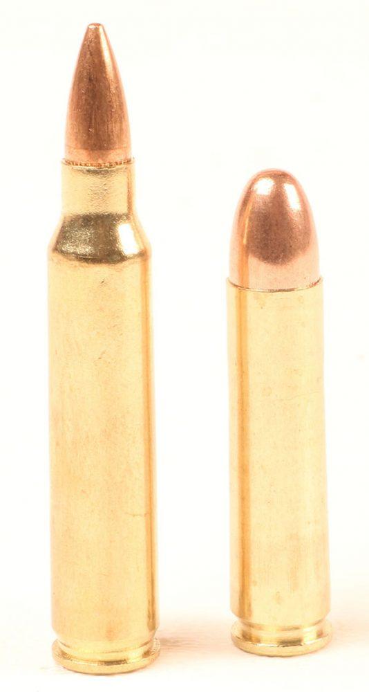 5.56x45mm round (left) is a good bit bulkier than M1 Carbine's 7.62x33mm cartridge.