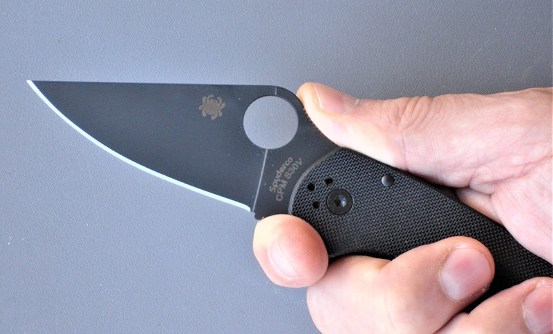 Leaf-shaped blade features full-flat grind, PlainEdge, and Spyderco's patented Trademark Round Hole.