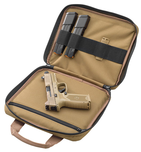 FN 509 Tactical arrives in FN logoed soft pistol case with two 24-round magazines and one 17 rounder. Case also includes mounting accessories in sealed blister pack. Photo: FN