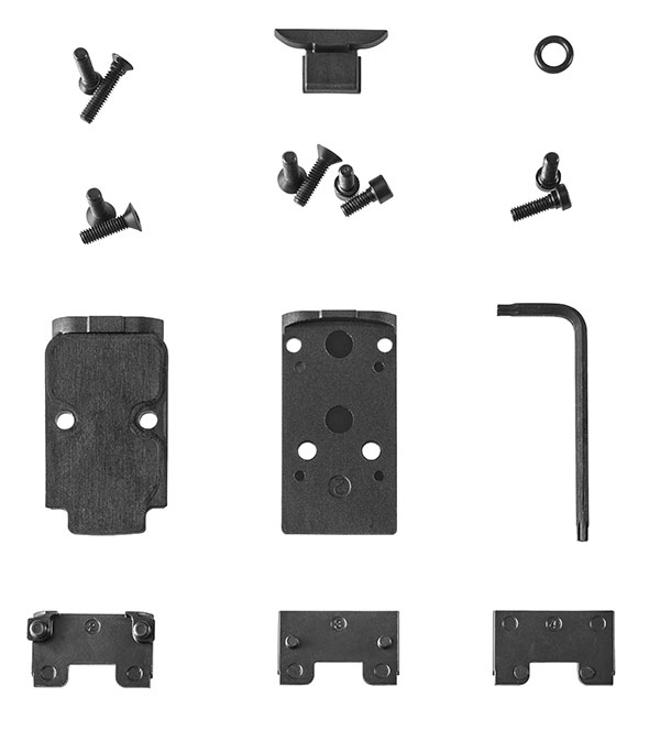 Sample of components that arrive with 509 Tactical to allow it to mount at least ten of the most popular red dots on the market. Photo: FN