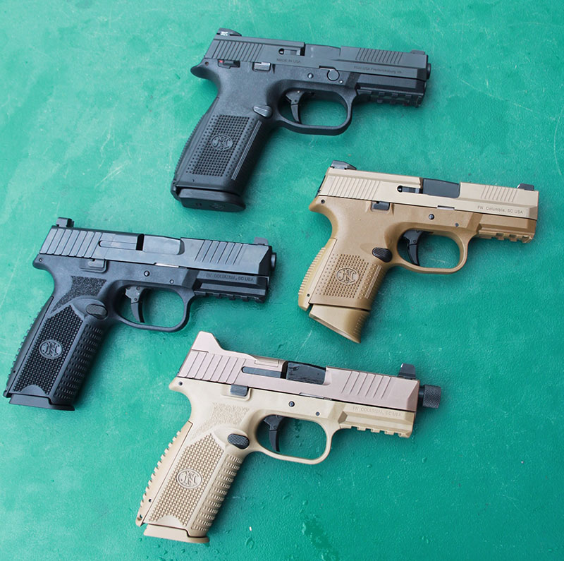 FN 509 Tactical (bottom) evolved from previous FN pistol designs such as FNS and FN 509.